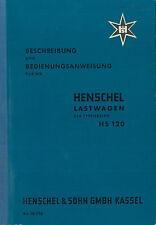 1955 HENSCHEL HS 120 BETRIEBSANLEITUNG BORDBUCH OWNER'S MANUAL HANDBOOK DEUTSCH