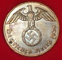 Authentic German Rare 2Pf Coin with Big EAGLE Artifact