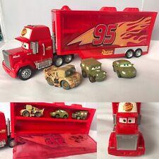 Disney Pixar Cars Mini Racers ~ Mack Hauler Truck Transporter + 3 Mini Cars
