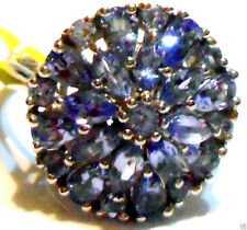 PURPLE TANZANITE PEAR, MARQUISE & ROUND COCKTAIL RING, SILVER, SIZE 7, 2.58(TCW)