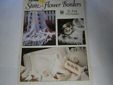 1991 State Flower Borders Cross Stitch Pattern Book Leaflet Poppy Peony Rose