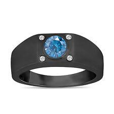 Enhanced Fancy Blue Diamond Solitaire Mens Ring 14K Black Gold 0.55 Carat