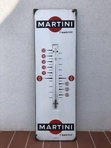 Rare Old Vintage Original Martini Thermometer Enamel Sign Large Version