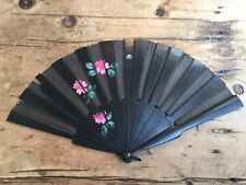 ANTIQUE HAND PAINTED BLACK WOOD & LINEN FAN - NEEDS A BIT OF TLC ON A FEW SPINES