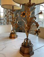 "Pair of Vintage Fredrick Cooper Mid-Century Italian Gilt Lamps 43"""