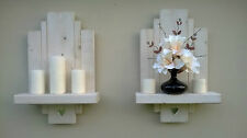 2 White lime wax sconces floating shelf rustic wooden shelves with mirror hearts