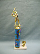 male Baseball trophy award blue theme column marble base with mitt trim