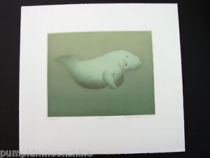 """MANATEE""  BETH VAN HOESEN  SIGNED ~ LIMITED AQUATINT 88 ~ ADORABLE"