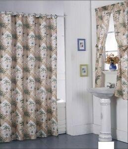 Shower Curtain Drapes + Bathroom Window Set  Liner+Rings California Palm Design