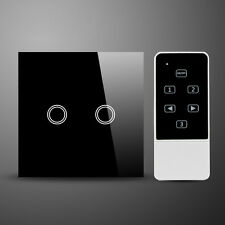 Glass Switch 2 Gang Remote on/off & Touch Double Light Switch Black MG-UK02BK