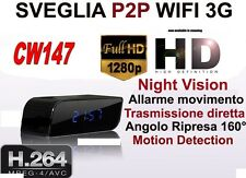 SVEGLIA SPIA TELECAMERA MICROCAMERA SPY CAM NIGHT VISION NASCOSTA 3G WIFI CW147