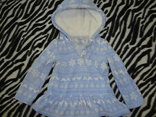 Girls Size 24 Months Blue White Fleece Pullover Sweater With Hood Carter'S Snow