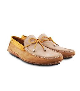Moreschi Men's Brown Bone Yellow Suede & Calf skin Driver Moccasins Rubber sole
