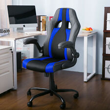 Merax Ergonomic Racing Office Gaming Chair PU Leather Mesh Computer Desk Blue