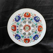 "9"" Round Marble Plate Wall Plate Turquoise Floral Inlay Art Home Decor Gift"