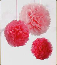3x Papel Rosa Decoración para Colgar Mullido Borlas