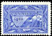 Canada #302 mint F-VF OG NH 1951 Fisherman $1 bright ultramarine CV$60.00