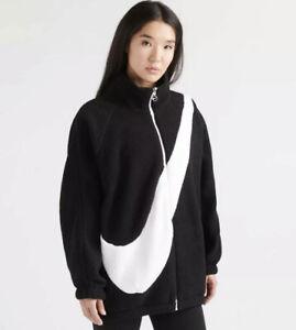Nike Swoosh Women's Reversible Sherpa Jacket Black White Sz Large CI8937-010