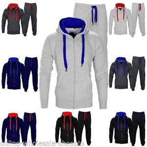 MENS TRACKSUIT SET FLEECE HOODIE TOP & BOTTOMS JOGGERS GYM CONTRAST JOGGING NEW