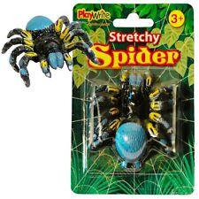 10 x STRETCHY SPIDERS 8cm ~ PRATICAL JOKE, STOCKING FILLER HALLOWEEN