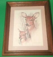 "Paul Whitney Hunter  - ""Deer & Fawn"" - Vintage Framed Print - 16 1/4"" X 13 1/2"""