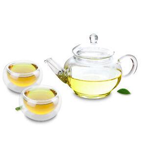 Clear Glass Tea Set- Mini Teapot w/ Filter + 2 Small Round Teacup Mugs