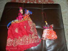 Indian Handmade Rajasthani Vintage Kathputli Marionette  Puppets x 2 with bells