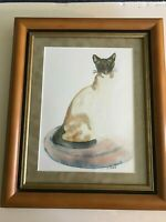 An Original Watercolor Painting of a Siamese Cat - Signed by the Artist