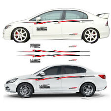 2pcs Full Size Car Skirt Body Stripe Sticker Black / Red Line Rally Race Decal