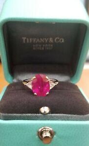 Vintage Tiffany & Co PLATINUM & 18K  Natural Burma ruby  ring 3.90ct. GRS CERT.
