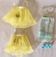 Barbie Lingerie Lot Sweet Dreams Yellow Blue Bra Slip Shoes 1960s Vtg Doll 973