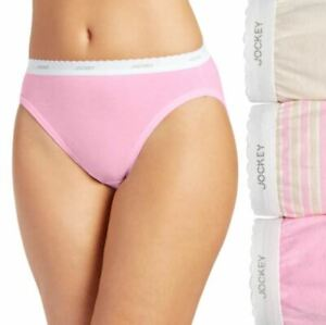Jockey 3-Pack Plus Size 100% Cotton Classic French Cut Panties Pink/Nude/Stripes