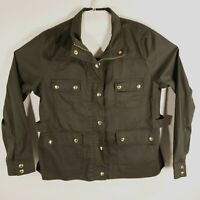 J Crew Womens Size 2XL Resin Coated Twill Field Jacket Green Color AL223 EUC