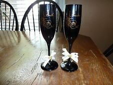 Black Bride and Groom Champagne Flute Glasses One of a Kind with Gold Etching