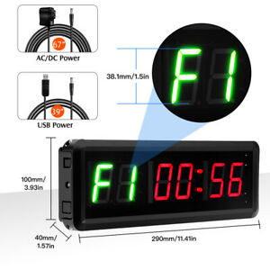 LED Display Interval Timer Wall Clock Gym Timer Count Up/Down fit Gym Fitness /