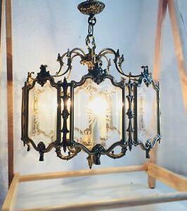 "✨ 25"" Antique Heavy Brass Spanish Lantern Light 5 Light 8 Etched Glass Panels"