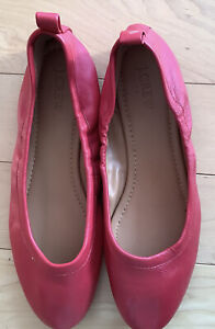 NWOT J.Crew Red Leather Ballet Flats -8-1/2