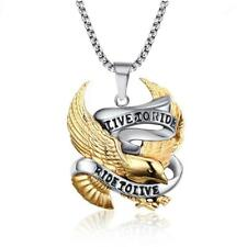 Punk Silver Gold Stainless Steel Eagle Pendant Necklace with 60cm Chain