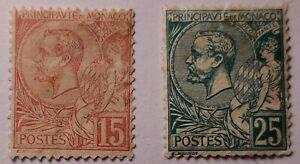 Monaco CLASSIC 1891 15c MNG & 25c Pt Original gum (€700 with gum). Spacefillers