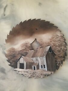 Beautiful Hand Painted Saw Blade Stormy Day Old Barn