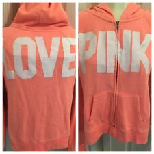 Victoria's Secret PINK Love Pink Women XS Pink Zip Hooded Sweatshirt Jacket