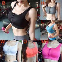 Women's Seamless Gym Zipper Front Sports Bra Top Plus Size Fitness Workout Bra
