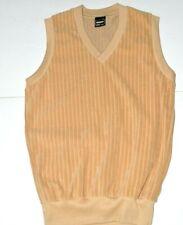 Velour Vintage Mens Sweater Vest Size Small Campus Vertical Lines Tan Brown V