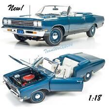 AUTOWORLD AMM1102 1969 PLYMOUTH GTX CONVERTIBLE JAMAICAN BLUE DIECAST CAR 1:18