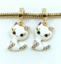 2pcs Cat Gold European Charm Crystal Spacer Beads Fit Necklace Bracelet DIY