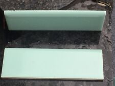 🎀12 TURQUOISE 2 X 6 Ceramic BORDER Bullnose Tile H&R Johnson VINTAGE