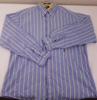 Tommy Hilfiger Men's Light Blue Yellow Striped Button Down Size Large