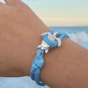 Blue Rope Silver Sea Turtle Bracelet One Size Fits All Women's Teen