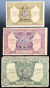 LOT 3 PCS FRENCH INDOCHINA 10, 20, 50 CENTS IDEO 1942