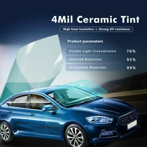 70%VLT Auto Car Window Film light blue nano ceramic solar tint 152cmx50cm